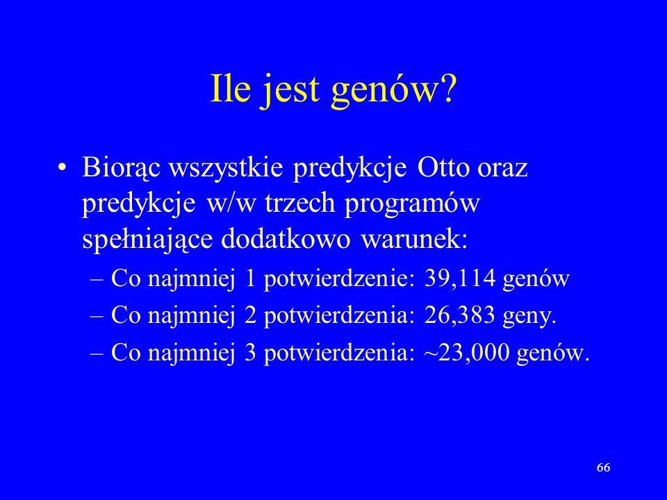Ile jest genów Biorąc wszystkie predykcje Otto oraz predykcje w/w trzech programów spełniające dodatkowo warunek: