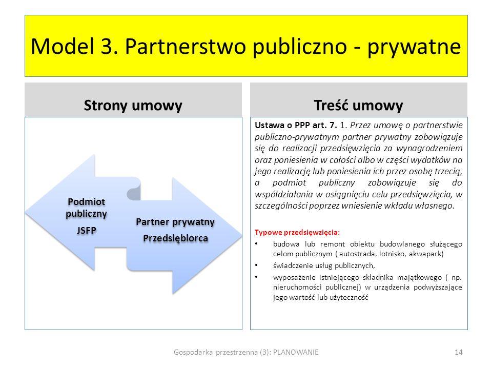 Model 3. Partnerstwo publiczno - prywatne