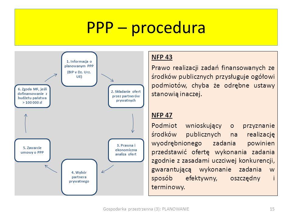 PPP – procedura 1. Informacja o planowanym PPP. (BIP v Dz. Urz. UE) 2. Składanie ofert przez partnerów prywatnych.