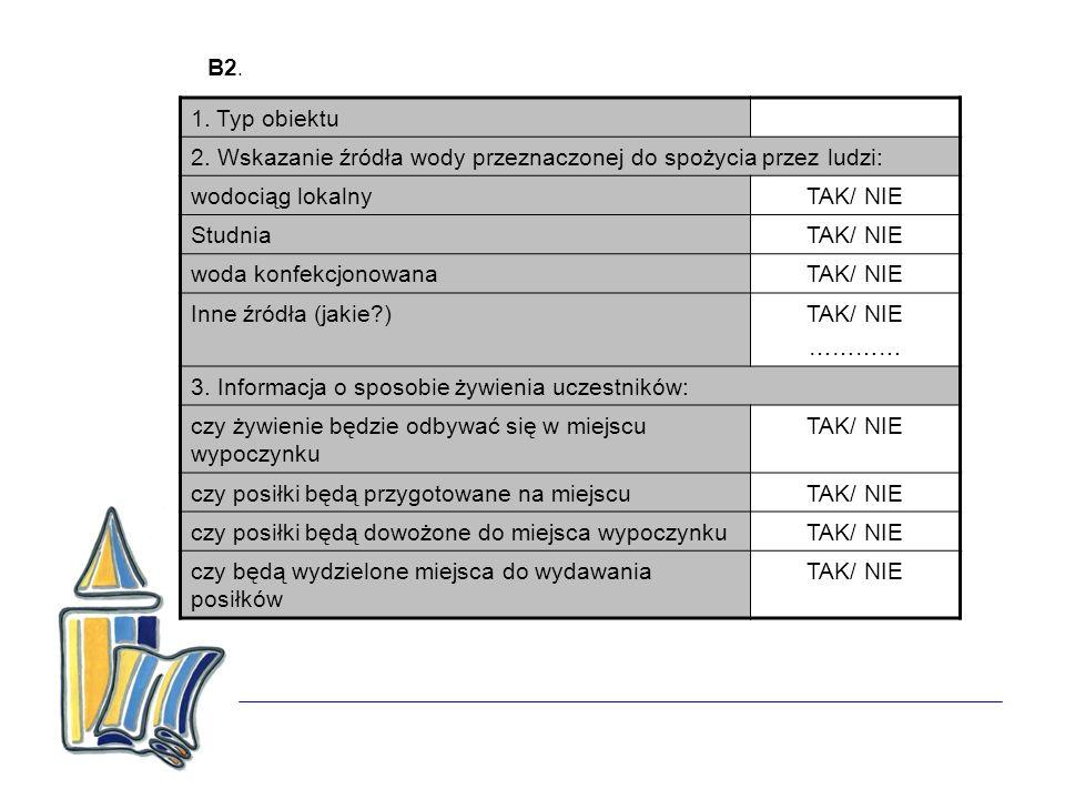 B2. 1. Typ obiektu. 2. Wskazanie źródła wody przeznaczonej do spożycia przez ludzi: wodociąg lokalny.