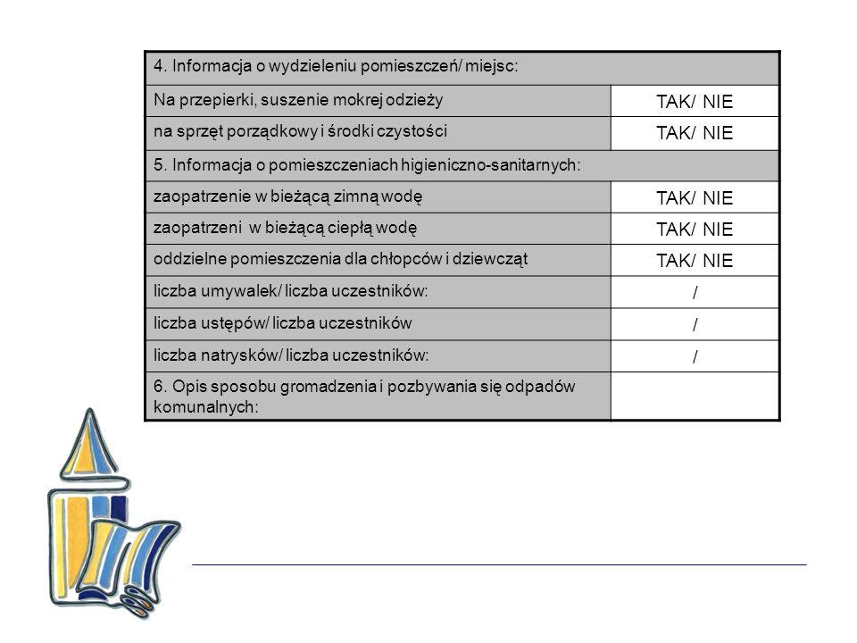 TAK/ NIE / 4. Informacja o wydzieleniu pomieszczeń/ miejsc: