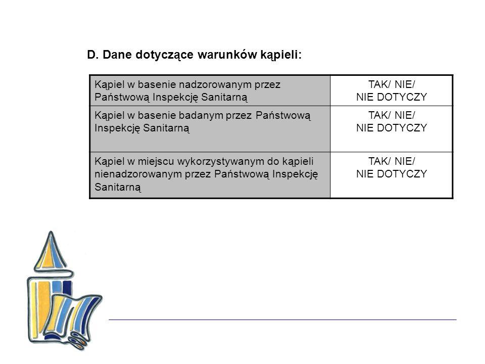 D. Dane dotyczące warunków kąpieli: