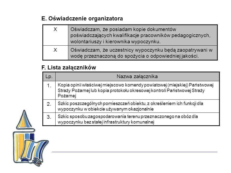 E. Oświadczenie organizatora