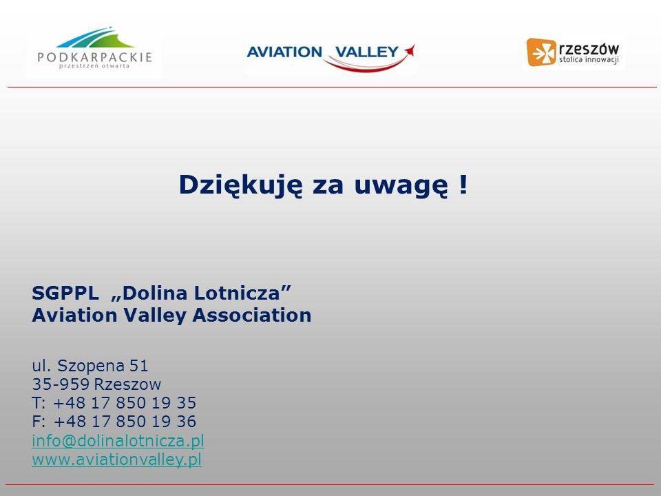 """Dziękuję za uwagę ! SGPPL """"Dolina Lotnicza Aviation Valley Association."""