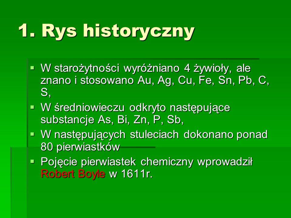 1. Rys historyczny W starożytności wyróżniano 4 żywioły, ale znano i stosowano Au, Ag, Cu, Fe, Sn, Pb, C, S,