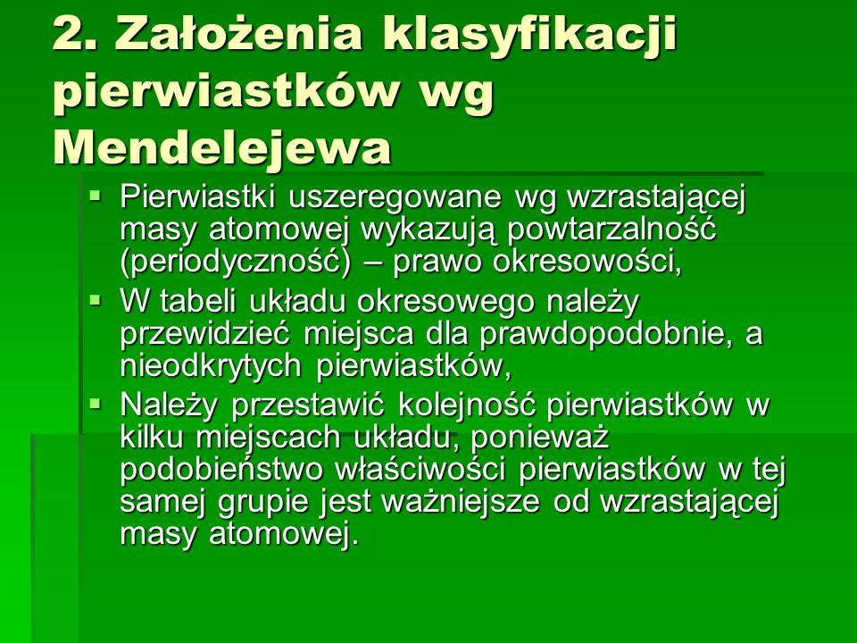 2. Założenia klasyfikacji pierwiastków wg Mendelejewa