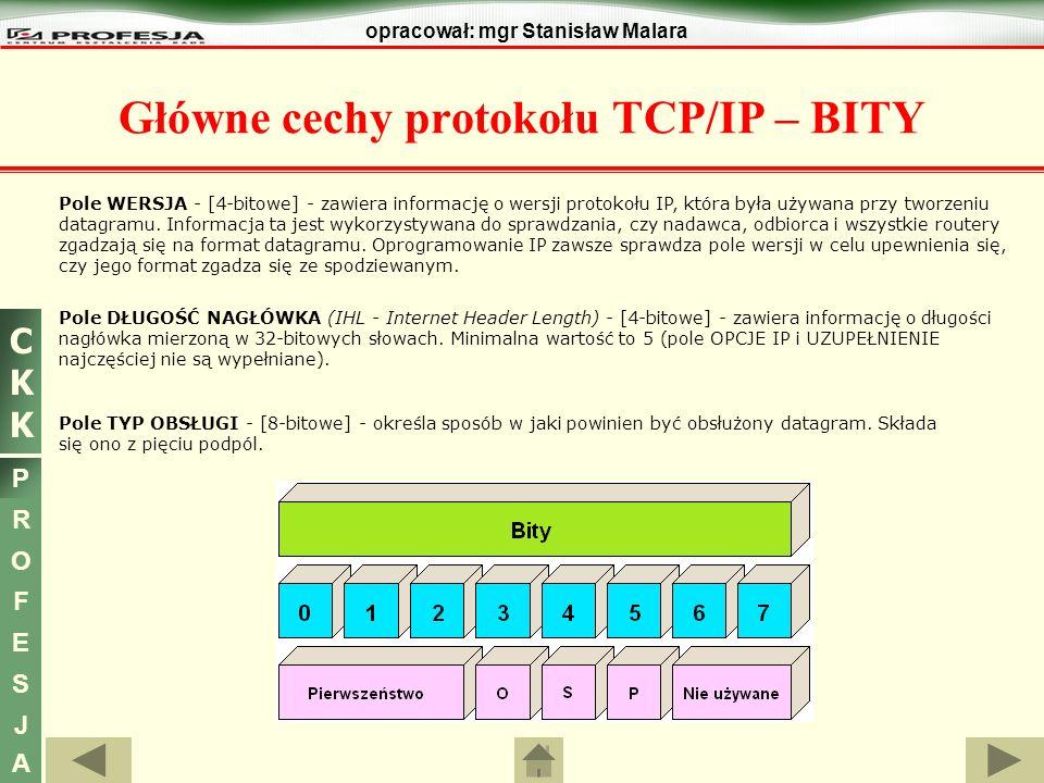 Główne cechy protokołu TCP/IP – BITY