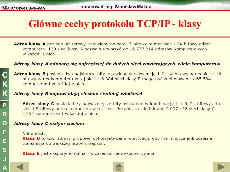 Główne cechy protokołu TCP/IP - klasy