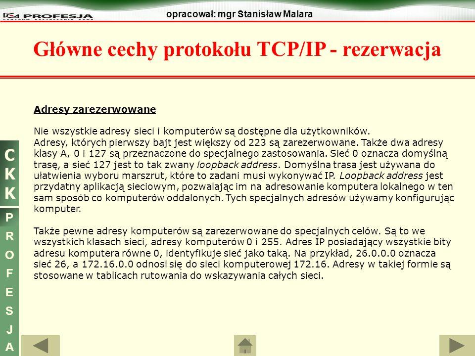 Główne cechy protokołu TCP/IP - rezerwacja