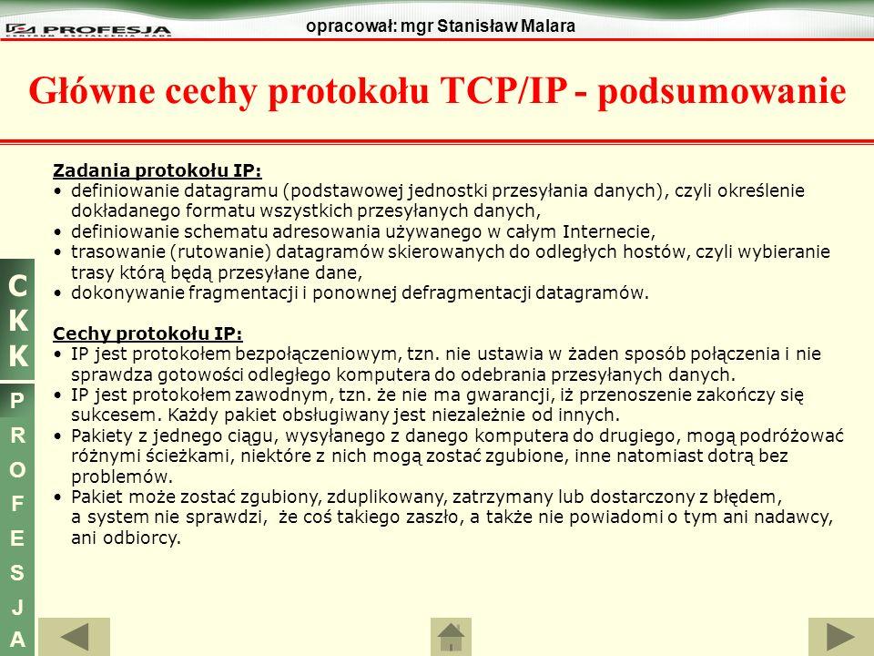 Główne cechy protokołu TCP/IP - podsumowanie