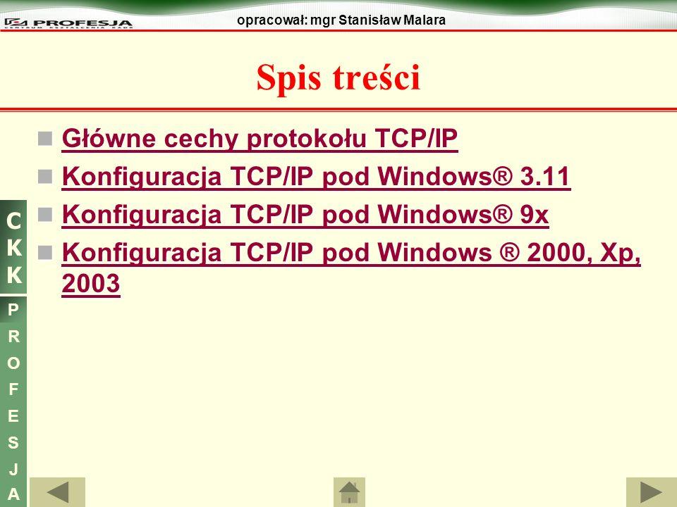 Spis treści Główne cechy protokołu TCP/IP