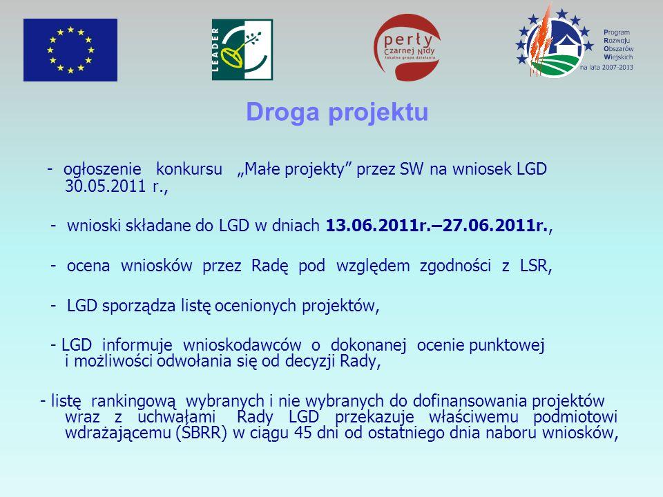 """Droga projektu - ogłoszenie konkursu """"Małe projekty przez SW na wniosek LGD 30.05.2011 r.,"""