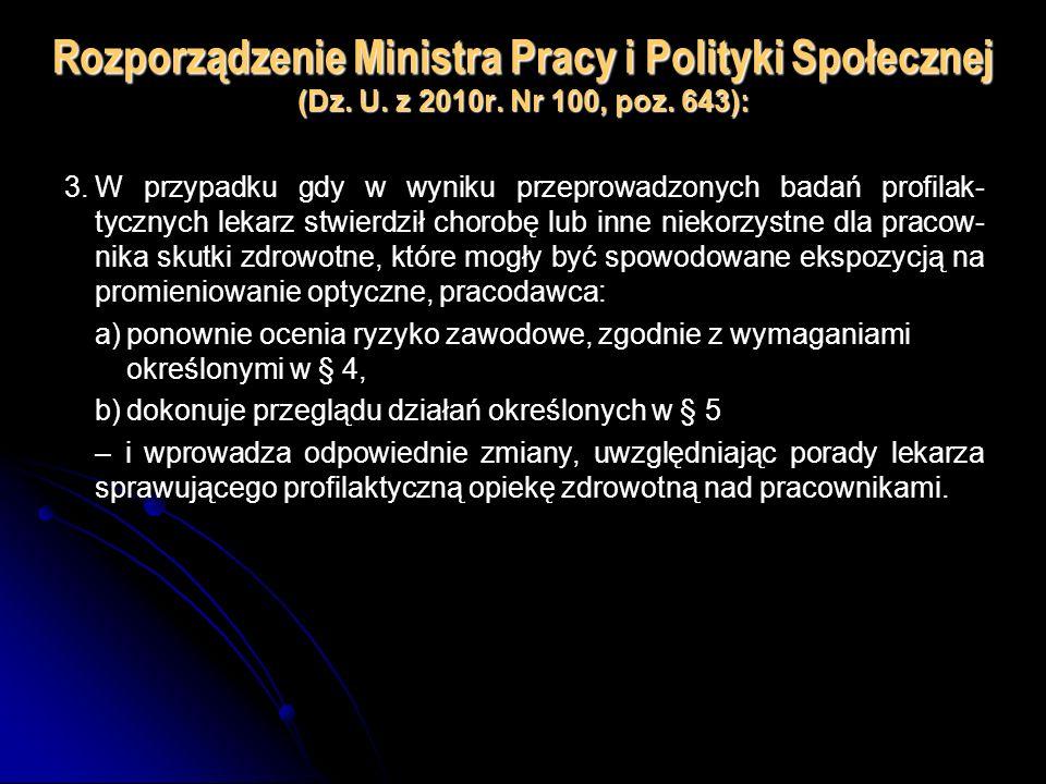 Rozporządzenie Ministra Pracy i Polityki Społecznej (Dz. U. z 2010r