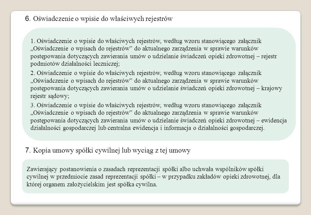 6. Oświadczenie o wpisie do właściwych rejestrów