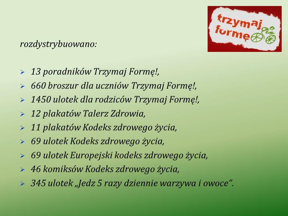 rozdystrybuowano: 13 poradników Trzymaj Formę!, 660 broszur dla uczniów Trzymaj Formę!, 1450 ulotek dla rodziców Trzymaj Formę!,
