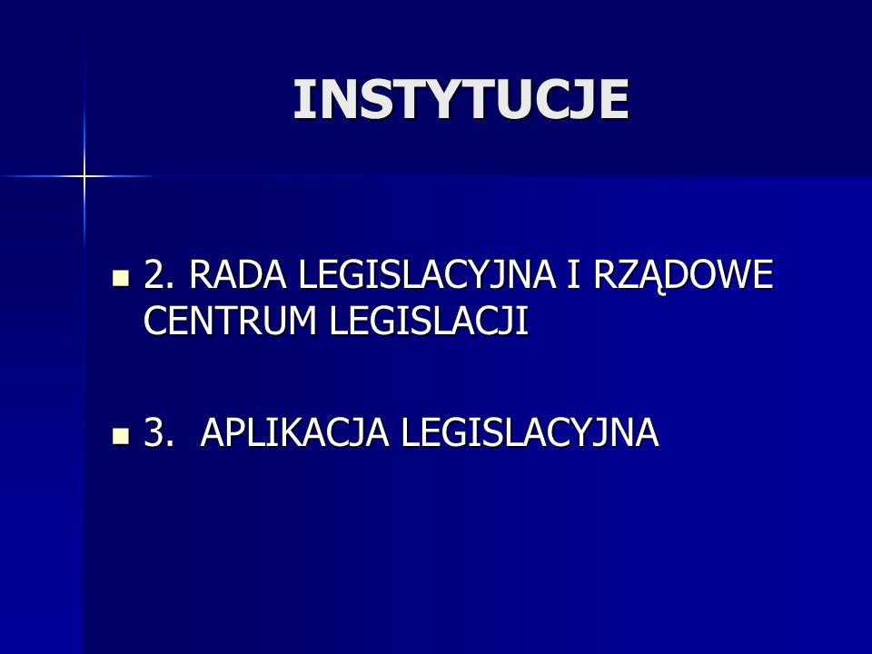 INSTYTUCJE 2. RADA LEGISLACYJNA I RZĄDOWE CENTRUM LEGISLACJI