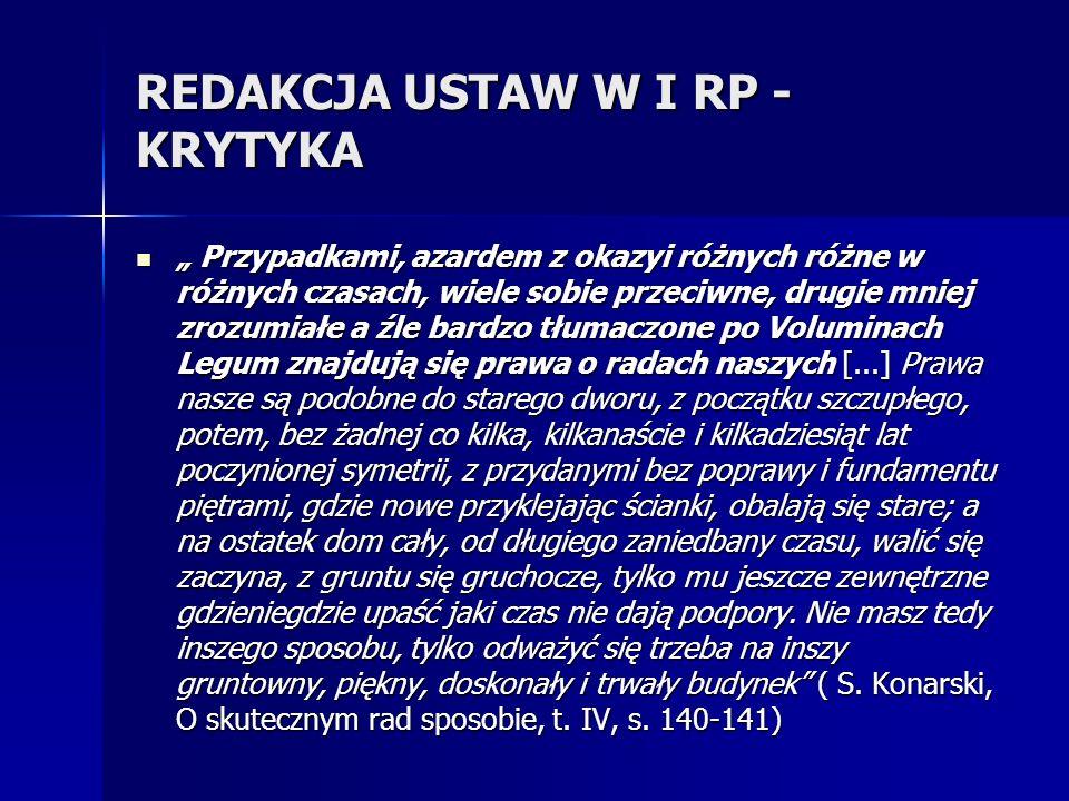 REDAKCJA USTAW W I RP - KRYTYKA