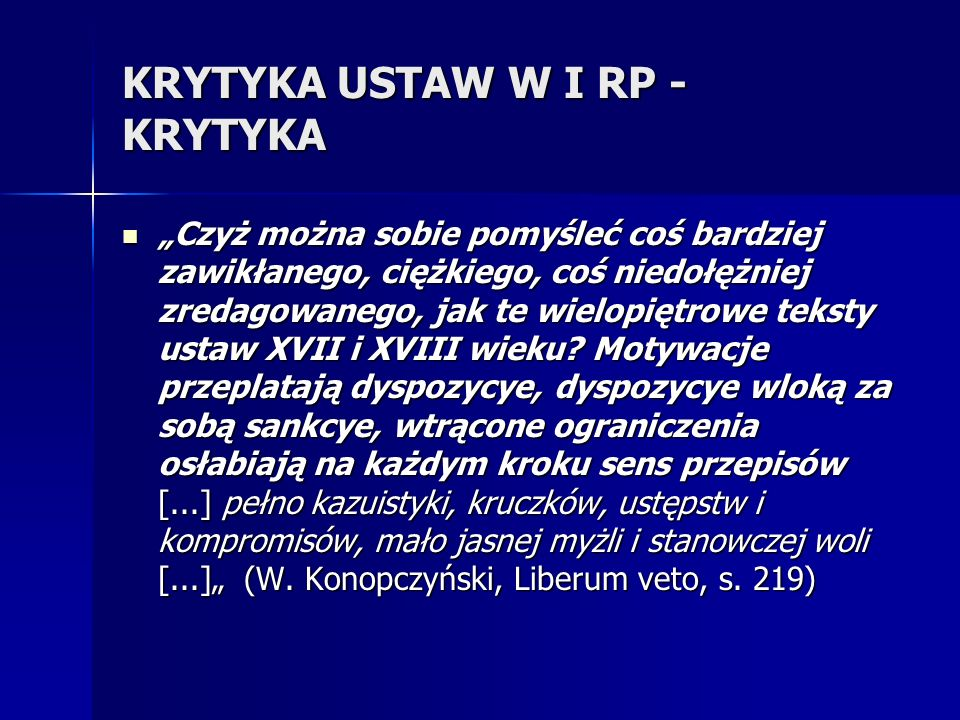 KRYTYKA USTAW W I RP - KRYTYKA