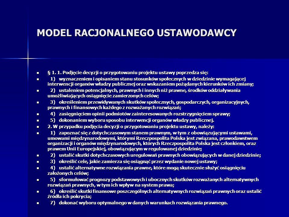 MODEL RACJONALNEGO USTAWODAWCY