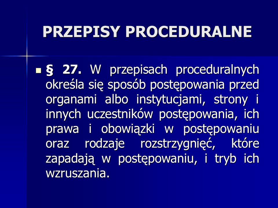 PRZEPISY PROCEDURALNE
