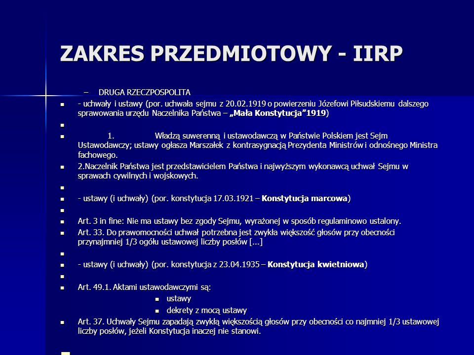 ZAKRES PRZEDMIOTOWY - IIRP