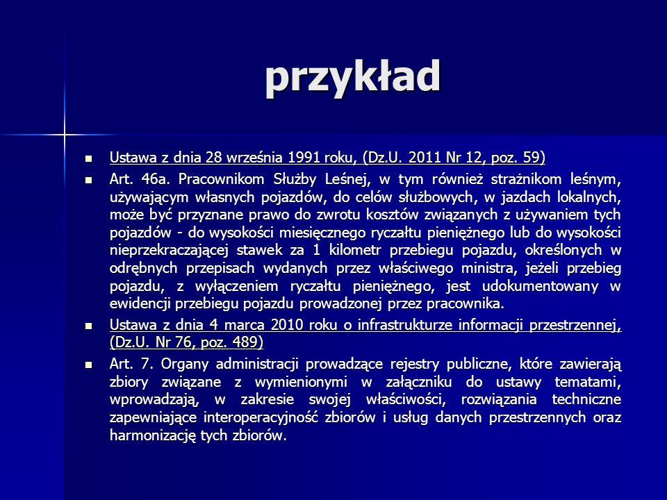 przykład Ustawa z dnia 28 września 1991 roku, (Dz.U. 2011 Nr 12, poz. 59)