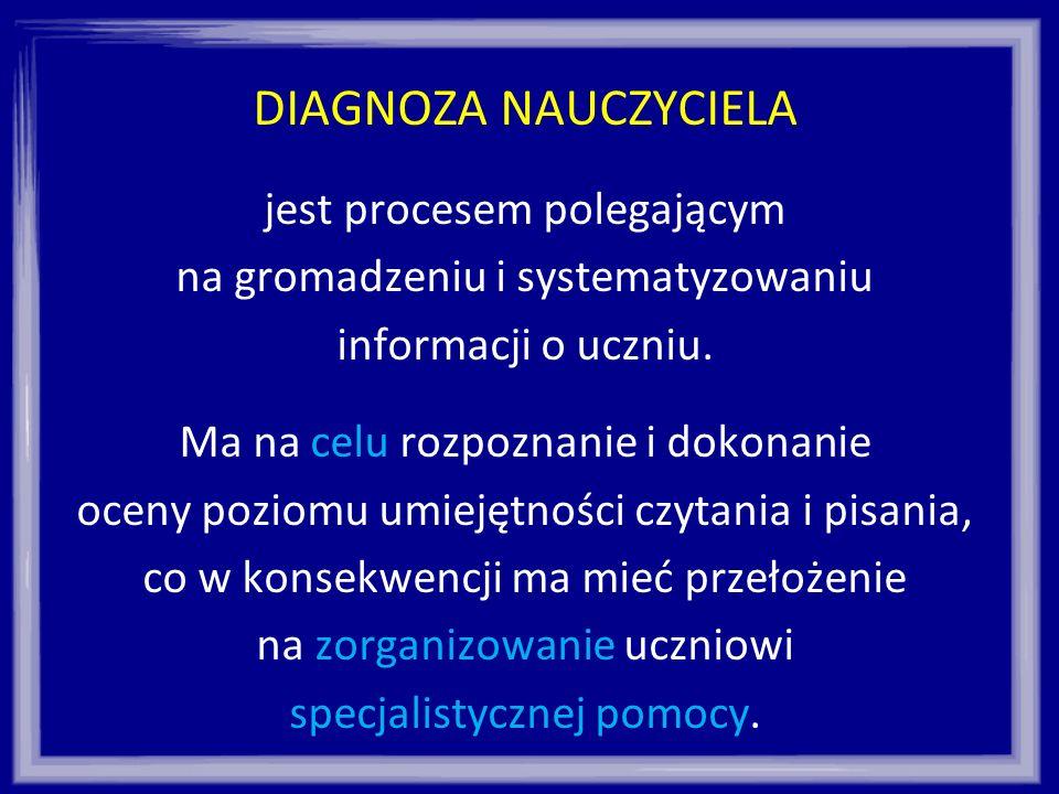 DIAGNOZA NAUCZYCIELA jest procesem polegającym