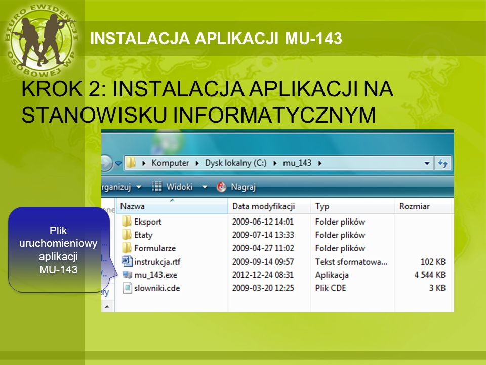 Plik uruchomieniowy aplikacji MU-143
