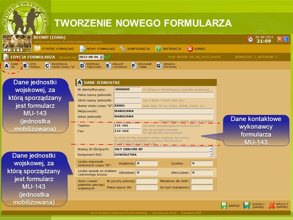 Dane kontaktowe wykonawcy formularza MU-143