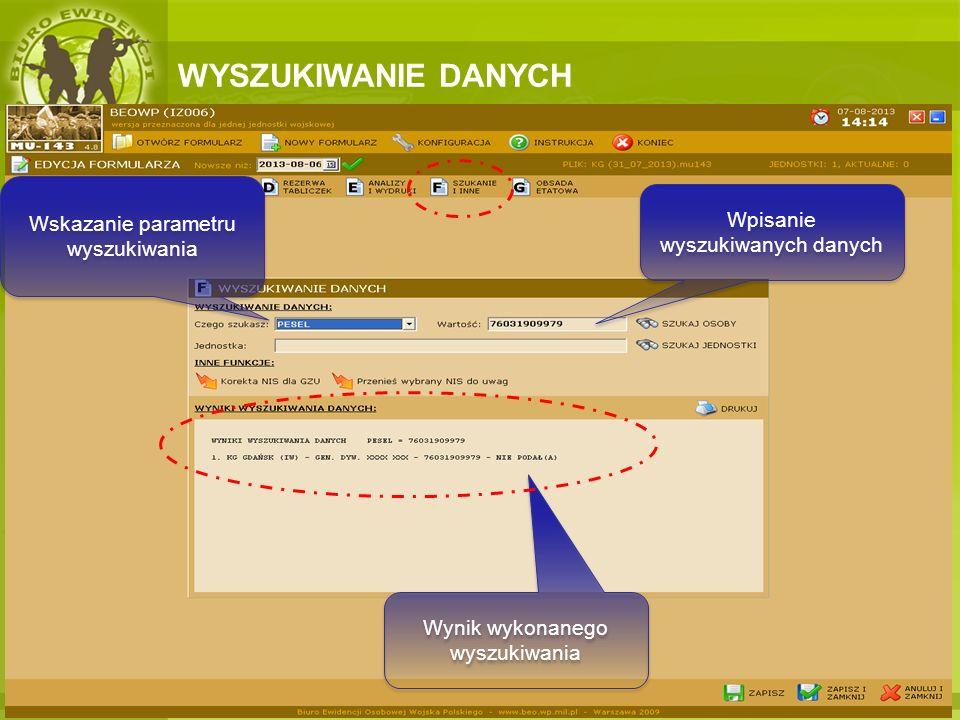 WYSZUKIWANIE DANYCH Wskazanie parametru wyszukiwania