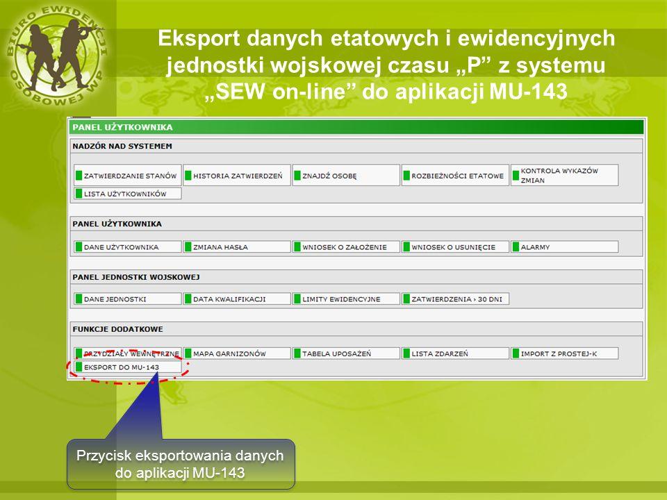 Przycisk eksportowania danych do aplikacji MU-143