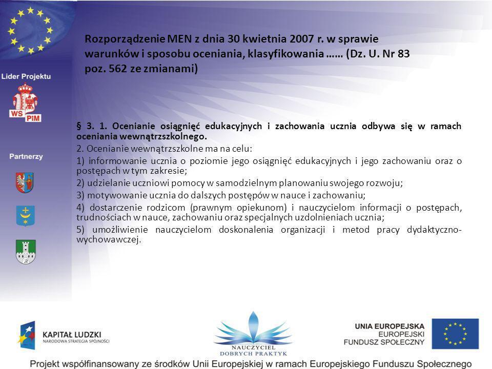 Rozporządzenie MEN z dnia 30 kwietnia 2007 r