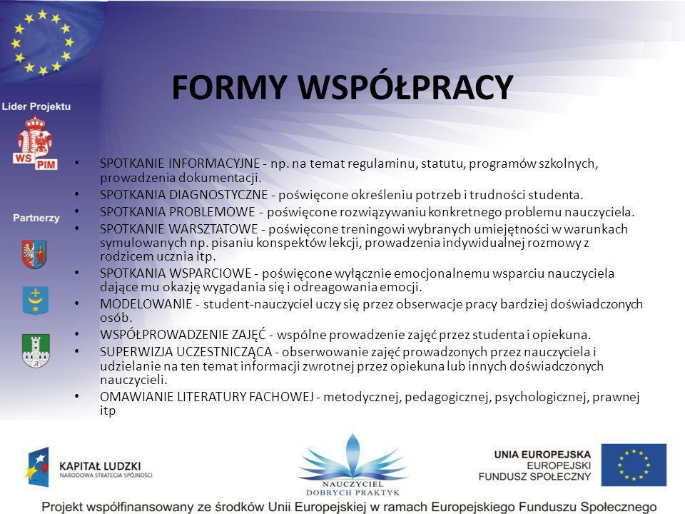 FORMY WSPÓŁPRACY SPOTKANIE INFORMACYJNE - np. na temat regulaminu, statutu, programów szkolnych, prowadzenia dokumentacji.