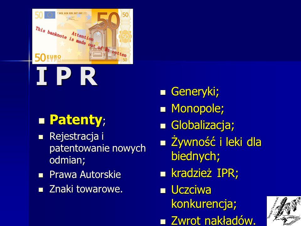 I P R Patenty; Generyki; Monopole; Globalizacja;
