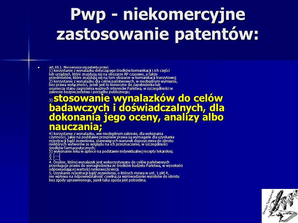 Pwp - niekomercyjne zastosowanie patentów: