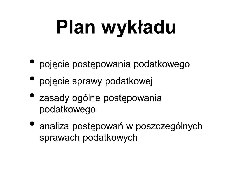Plan wykładu pojęcie postępowania podatkowego