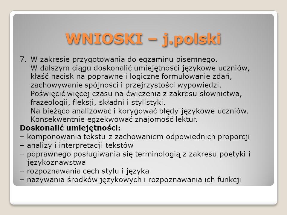 WNIOSKI – j.polski W zakresie przygotowania do egzaminu pisemnego.