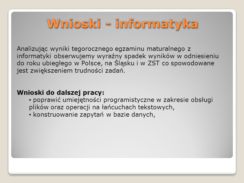 Wnioski - informatyka