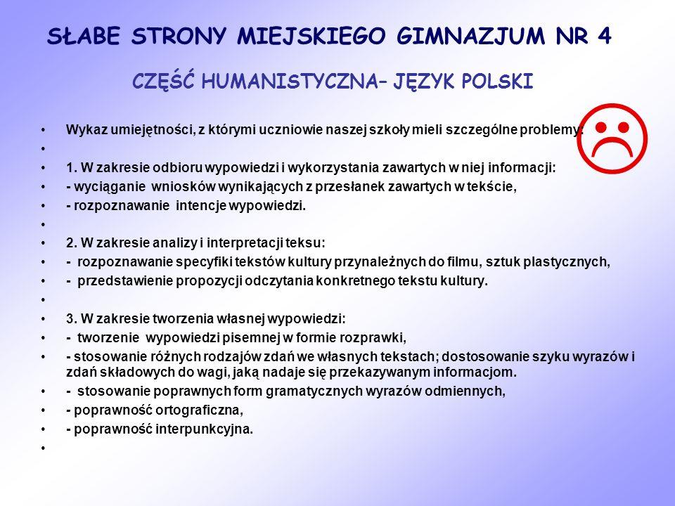  SŁABE STRONY MIEJSKIEGO GIMNAZJUM NR 4