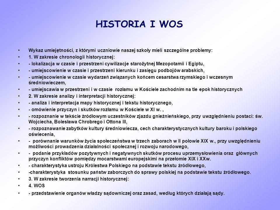 HISTORIA I WOS Wykaz umiejętności, z którymi uczniowie naszej szkoły mieli szczególne problemy: 1. W zakresie chronologii historycznej: