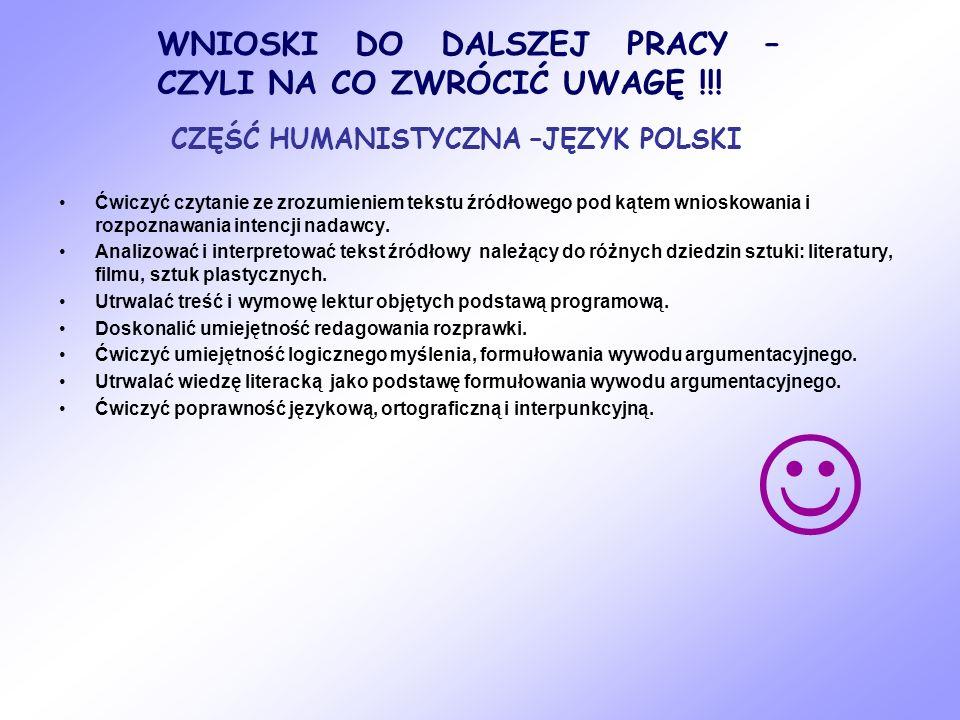 CZĘŚĆ HUMANISTYCZNA –JĘZYK POLSKI