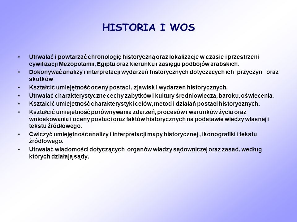 HISTORIA I WOS
