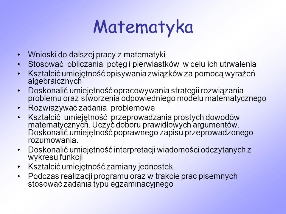 Matematyka Wnioski do dalszej pracy z matematyki