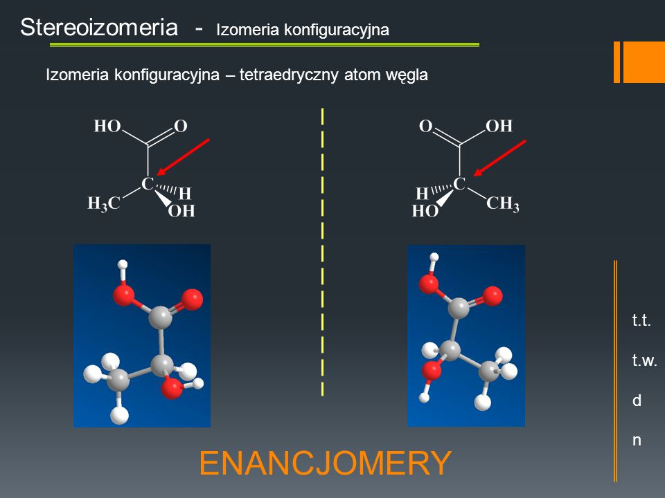 ENANCJOMERY Stereoizomeria - Izomeria konfiguracyjna