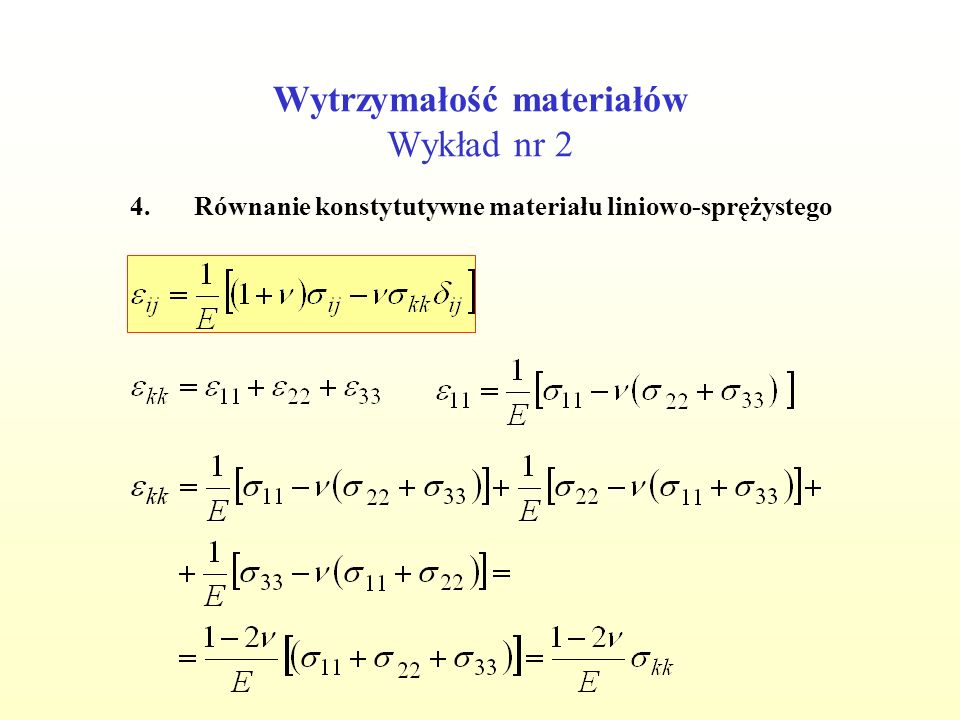 Wytrzymałość materiałów Wykład nr 2