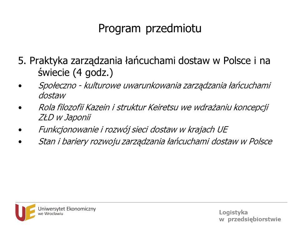 Program przedmiotu 5. Praktyka zarządzania łańcuchami dostaw w Polsce i na świecie (4 godz.)