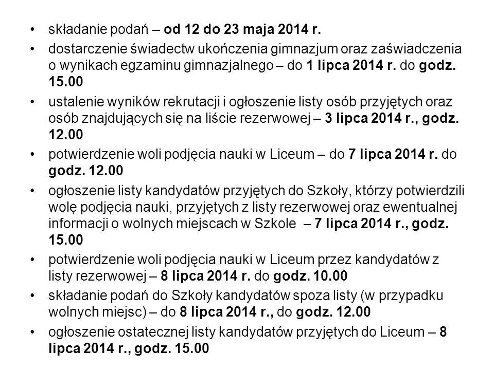 składanie podań – od 12 do 23 maja 2014 r.