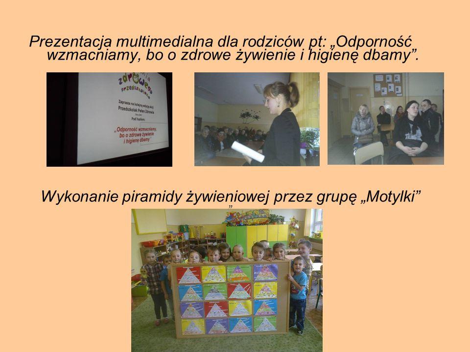 """Wykonanie piramidy żywieniowej przez grupę """"Motylki"""