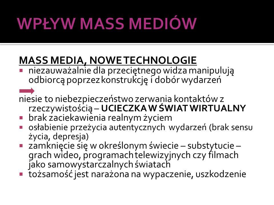 WPŁYW MASS MEDIÓW MASS MEDIA, NOWE TECHNOLOGIE