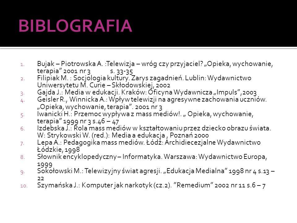 """BIBLOGRAFIA Bujak – Piotrowska A. :Telewizja – wróg czy przyjaciel """"Opieka, wychowanie, terapia 2001 nr 3 s. 33-35"""